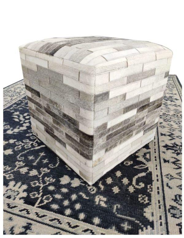 handmade hide pouf ottoman side