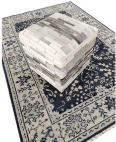 handmade hide pouf ottoman front