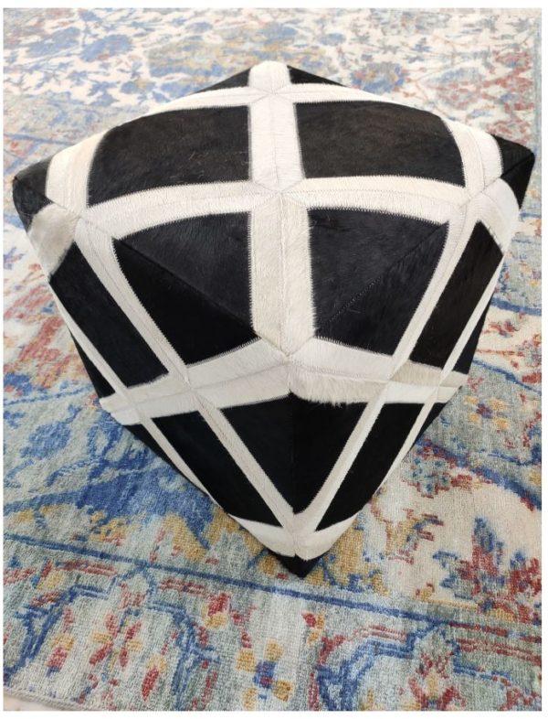 handmade hide pouf ottoman 007 front