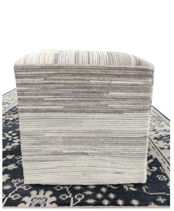 handmade hide pouf ottoman 0011 side