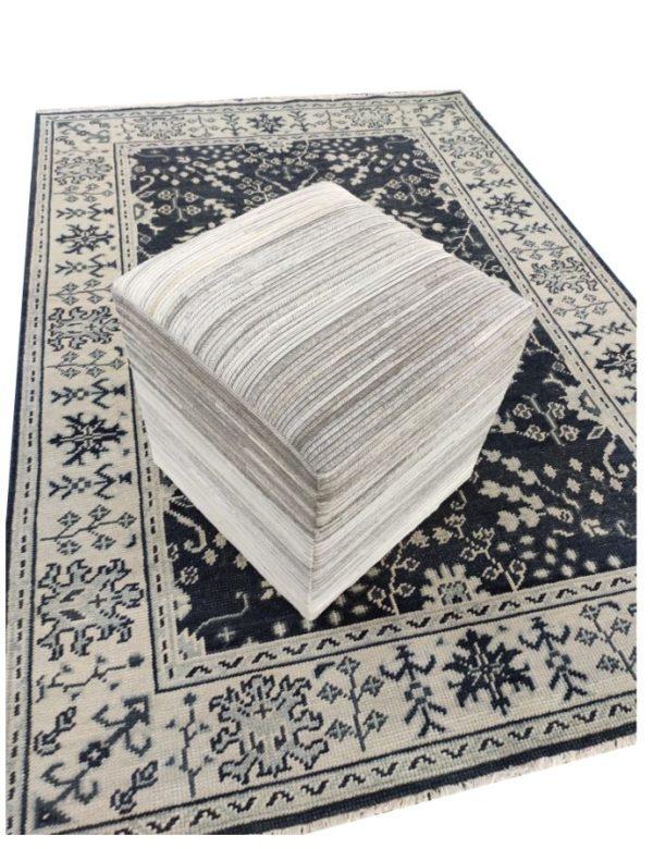 handmade hide pouf ottoman 0011 top